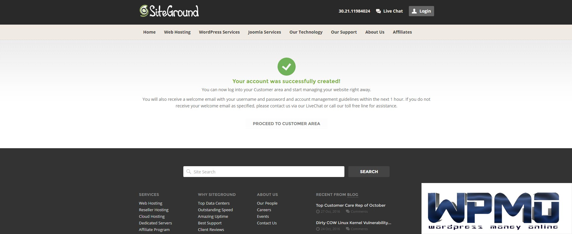 That's it - Your account was successfully created - Create SiteGround Hosting Account