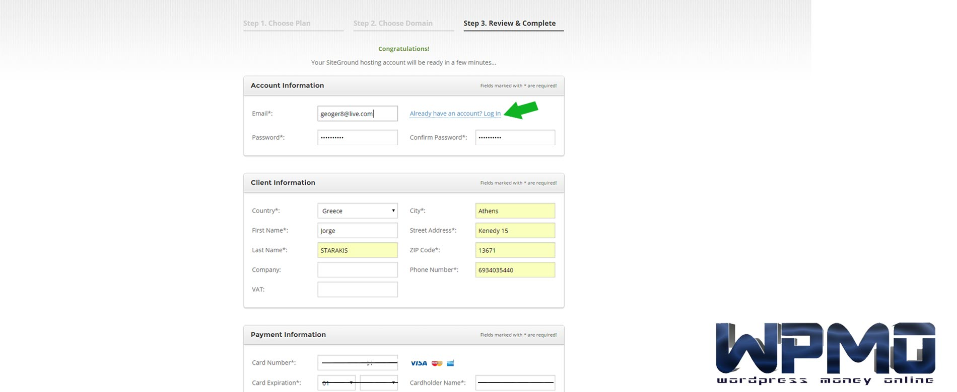 Fill-in-your-information-and-payment-details - Create SiteGround Hosting Account
