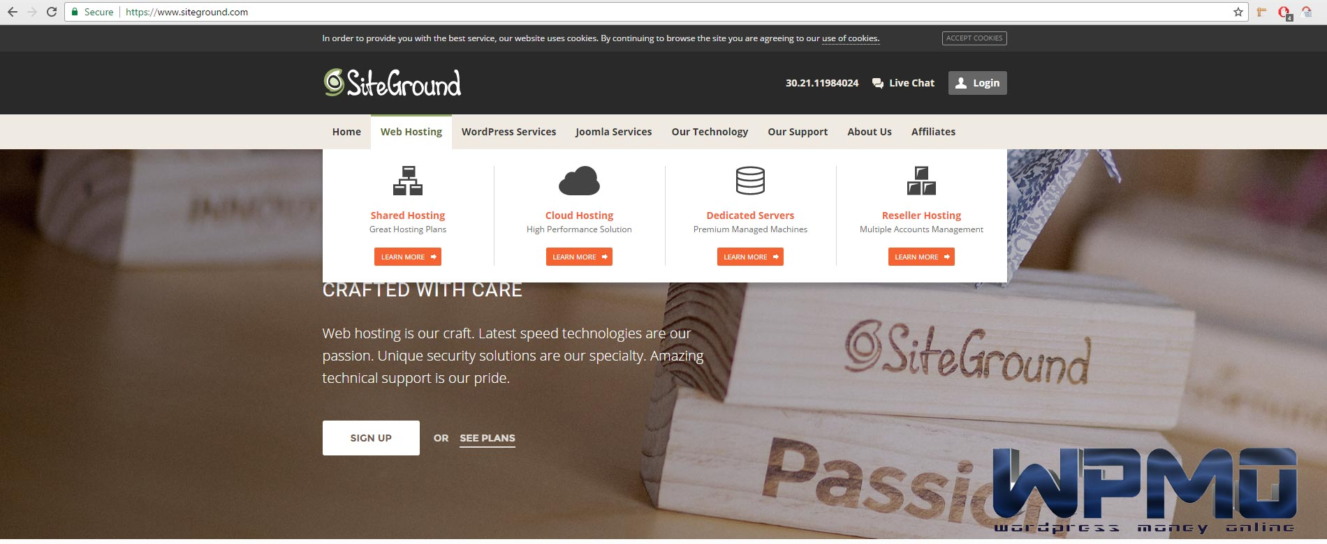 Hover your mouse or navigate to web hosting tab - Create SiteGround Hosting Account