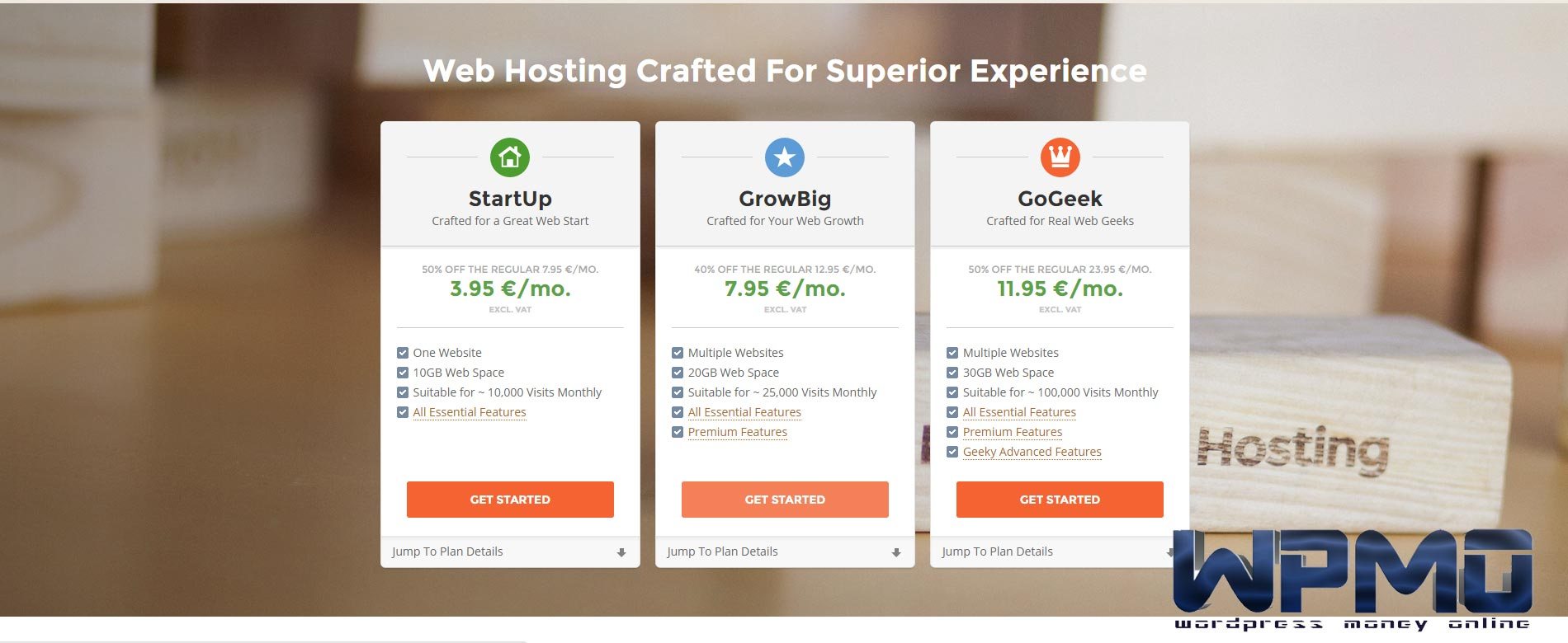 Select GrowBig plan and press get started - Create SiteGround Hosting Account